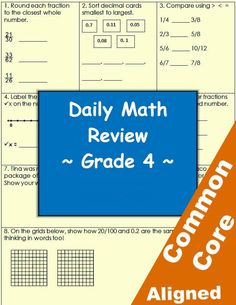 Daily math skill review worksheets - 4th grade. From Betsy Weigle at Classroom Caboodle. Common Core aligned: Math. Buy one to 4 packets or get the Mega Pack!