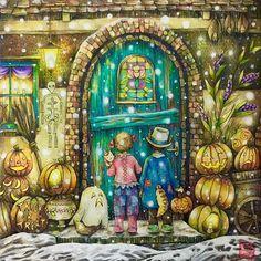 Halloween party!!  Are you ready? ☺️☺️☺️#romanticcountrycoloringbook #eriy #prismacolor #triplusfineliner #halloween