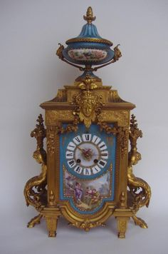 Sevres Porcelain Gilt Bronze Clock, Japy Freres