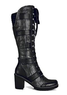 pretty Distress Knee High Vintage Style Grunge Steampunk Gothic Womens Lace up Boots Size 5