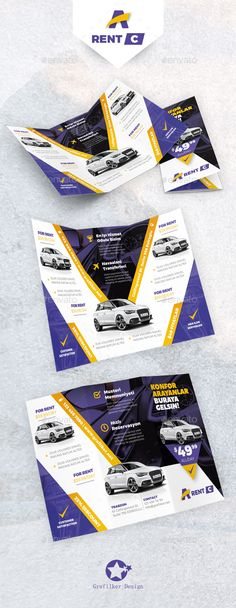Rent A Car Tri-Fold Template PSD, InDesign INDD. Download here: http://graphicriver.net/item/rent-a-car-trifold-templates/16266495?ref=ksioks