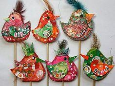 e-Bay:   Hand-crafted mixed-media word-birds