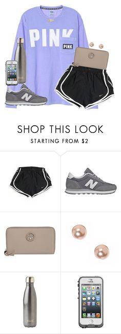 """""""more than a feelin"""" by kaley-ii ❤ liked on Polyvore featuring NIKE, New Balance, Tory Burch, claire's, S'well, LifeProof and Kendra Scott"""