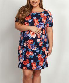 PinkBlush Maternity PinkBlush Navy Blue & Orange Floral Maternity Shift Dress - Plus   zulily.