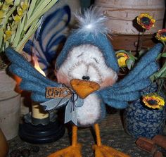 "Primitive Robin Canary Blue Bird Fuzzy 6"" Bear Doll Vtg Patti's Ratties Ornie"