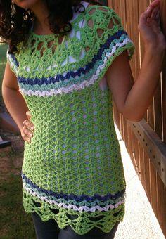 -Remera con canesú colores - Crochet - Tejidos de Punto -