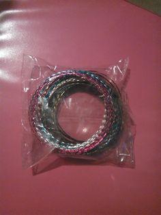 25 colorful thin aluminium bracelets - free shipping USA/Canada!