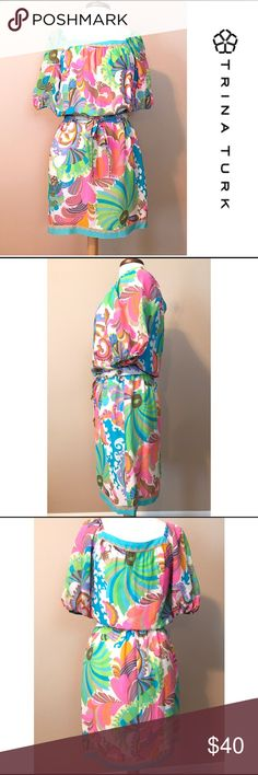 TRINA TURK Silk Dress 8 100% silk outer. Completely lined. Multicolored, abstract tropical print on white background. Short sleeve. Matching tie for waist. Excellent Condition! Worn once. Smoke and pet free Trina Turk Dresses