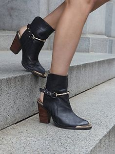 gold toed ankle boots