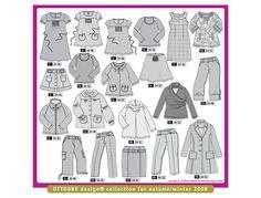 Design 5 in navy jersey, Design 7 in cream corduroy, Design 14 in red paisley knit