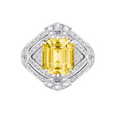Ring Sketch, Louis Vuitton Jewelry, Enchanted Jewelry, Jewelry Design Drawing, Emerald Cut Diamonds, Yellow Diamonds, Sapphire Diamond, High Jewelry, Diamond Pendant
