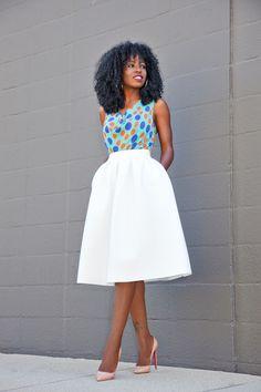 Cowl Neck Blouse + Full Midi Skirt