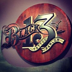 Signage Design, Typography Design, Logo Design, Painted Signs, Wooden Signs, Hand Painted, Black 13 Tattoo, Lettering, 3d Cnc