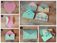 Hacer sobres DIY con forma de corazón