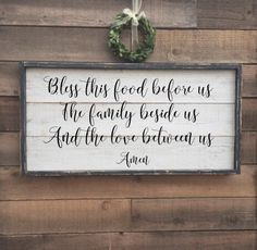 A personal favorite from my Etsy shop https://www.etsy.com/listing/489130521/bless-this-food-before-us-the-family