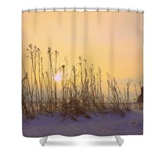 """Country Sunrise Shower Curtain for sale by Inspired Arts.  This shower curtain is made from 100% polyester fabric and includes 12 holes at the top of the curtain for simple hanging.  The total dimensions of the shower curtain are 71"""" wide x 74"""" tall. #farm #rustic #outdoors #countrylife"""