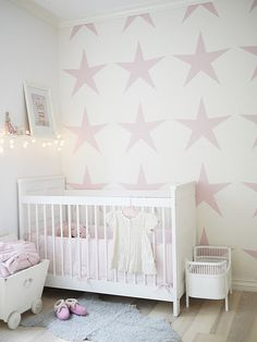 Star nursery, pink stars on a nursery wall~ Star Nursery, Nursery Room, Girl Nursery, Nursery Decor, White Nursery, Nursery Ideas, Child's Room, Babies Nursery, Wall Decor