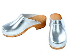 Patent leather Clogs silver by berlin27clogs on Etsy, $49.00