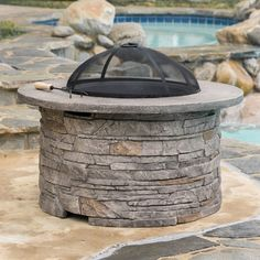 Channing Outdoor Natural Stone Fire Pit by Christopher Knight Home (Natural Stone), Multi (Glass), Outdoor Décor