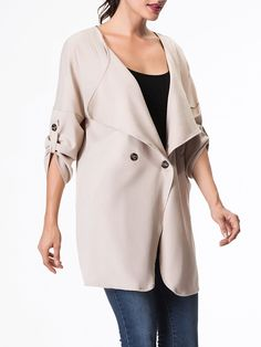 Lapel Single Button Plain Rool-up Sleeve Trench-coat Only $31.95 USD More info...