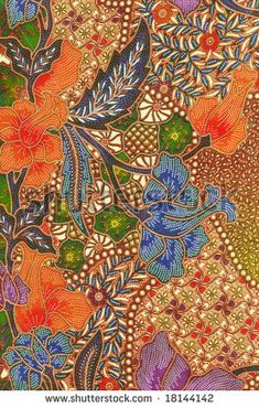Orange and blue floral traditional Batik sarong design, Indonesia