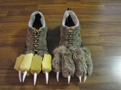 Monster feet made from old pair of shoes, some yellow foam, fur,and some Halloween 'teeth'.