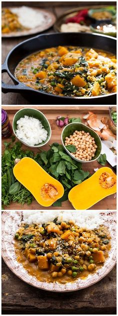 butternut squash and chickpea curry is mild and flavourful even the little ones will approve of this tasty dish!This butternut squash and chickpea curry is mild and flavourful even the little ones will approve of this tasty dish! Veggie Dishes, Veggie Recipes, Indian Food Recipes, Whole Food Recipes, Vegetarian Recipes, Cooking Recipes, Healthy Recipes, Vegetarian Curry, Chickpea Recipes
