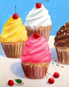 CUPCAKES Original Dessert Art Painting.