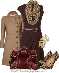 """Brown Fitted Dress"" by uniqueimage on Polyvore i love it all but not the animal print"
