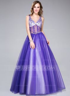 Prom Dresses - $169.99 - Ball-Gown V-neck Floor-Length Tulle Charmeuse Prom Dress With Beading (018044972) http://jjshouse.com/Ball-Gown-V-Neck-Floor-Length-Tulle-Charmeuse-Prom-Dress-With-Beading-018044972-g44972?snsref=pt&utm_content=pt