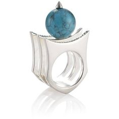 Yael Salomon Greta 01 Silver And Turquoise Ring ($121) ❤ liked on Polyvore featuring jewelry, rings, turquoise rings, silver turquoise jewelry, blue turquoise ring, silver rings and green turquoise ring