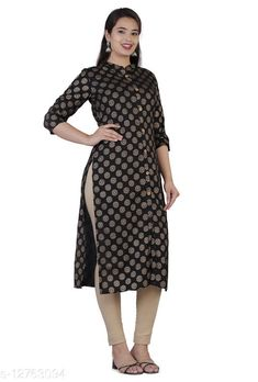 Kurtis & Kurtas beautiful straight kurti Fabric: Rayon Sleeve Length: Three-Quarter Sleeves Pattern: Printed Combo of: Single Sizes: S (Bust Size: 44 in, Size Length: 45 in)  M (Bust Size: 44 in, Size Length: 45 in)  L (Bust Size: 44 in, Size Length: 45 in)  XL (Bust Size: 44 in, Size Length: 45 in)  XXL (Bust Size: 44 in, Size Length: 45 in)  Country of Origin: India Sizes Available: S, M, L, XL, XXL   Catalog Rating: ★4.2 (474)  Catalog Name: Trendy Graceful Kurtis CatalogID_2474656 C74-SC1001 Code: 783-12763094-