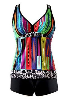 Racerback Printed Padded Black Tankini Set on sale only US$30.53 now, buy cheap Racerback Printed Padded Black Tankini Set at liligal.com
