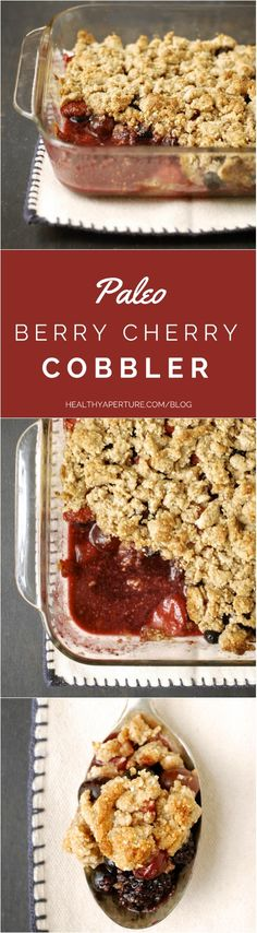 A paleo, grain-free, gluten-free version of the classic berry cobbler -- made with almond flour, maple syrup and coconut sugar. Original recipe calls for frozen fruit blend but fresh summer berries would taste even better! Recipe by @kumquatblog on @healthyaperture