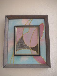 Cuadro hecho con  una combinacion de arenas de colores y oleo