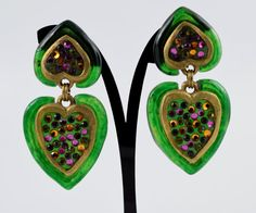 Your place to buy and sell all things handmade Clip On Earrings, Drop Earrings, Couture, Green And Gold, Jewelry Shop, Vintage Designs, Heart Shapes, Dangles, Personalized Items