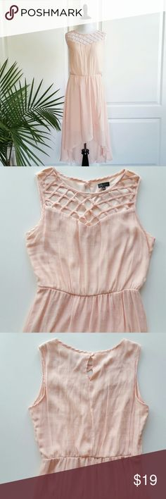 """Lily Rose Blush Pink Caged Chiffon Dress Lily Rose Blush Pink Caged Chiffon Dress  *Size Large - Underarm to underarm : 20"""" flat / Shoulder to front hem : about 38"""" / to back hem : 49"""" *Shell : 60% rayon, 40% polyester / Lining : 100% polyester - Linen like woven chiffon-y fabric - Machine Wash  *Fabric care tag says remove belt before wash. However this dress doesn't have belt or belt loops on the waist.  *Sleeveless / Caged / Cut out shoulder details / Hi low  *In excellent pre-loved…"""