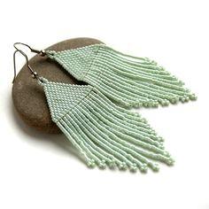 Мятные серьги из бисера Купить украшения ручной работы в интернет-магазине anabel27.ru