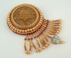 Art Deco Gold and Copper Czech Glass Button Brooch by beadn4fun, $43.00