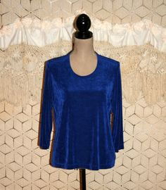 Royal Blue Top Vintage Womens Tops Small Medium Cobalt Knit Top Scoop Neck 3/4 Sleeve Top Laura Ashley Vintage Clothing Womens Clothing