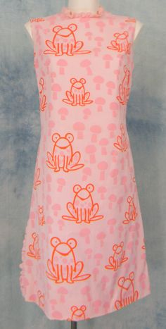 Vested Gentress Vtg 60s 70s Novelty Pink Ruffle Frog Mushroom Shift Dress Sz12 | eBay