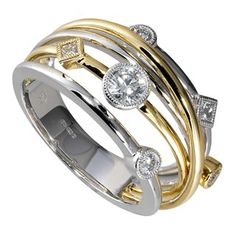 18ct two colour gold 0.41 carat diamond ring