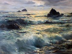 Golden Hour - (California Seascape) 1957 Original Painting by Peter Ellenshaw - Oil on Canvas Mountain Landscape, Urban Landscape, Seascape Paintings, Landscape Paintings, Landscapes, Abstract Canvas, Oil On Canvas, Ocean Shores, City Painting