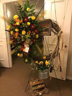 Gone fishing memorial - Modern Casket Flowers, Grave Flowers, Cemetery Flowers, Funeral Flowers, Arrangements Funéraires, Funeral Floral Arrangements, Funeral Caskets, Funeral Sprays, Casket Sprays
