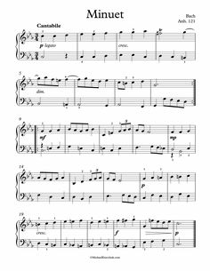 Free Piano Sheet Music - Bach Minuet In C Minor BWV Anh. 121 - Bach. Enjoy!