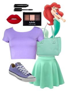 """Ariel"" by scstrong on Polyvore featuring LE3NO, Neiman Marcus, Converse, Lime Crime, NYX and Bobbi Brown Cosmetics"