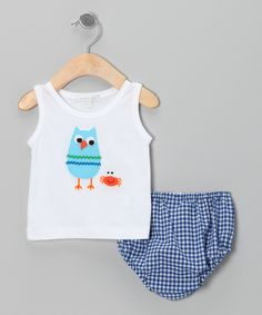 White Owl Tank & Blue Gingham Diaper Cover - Infant by Victoria Kids #zulily #zulilyfinds