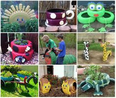 Tyre Art - Such Cute Ideas for recycling old tires for a kid's play area! Garden Crafts, Garden Projects, Projects To Try, Garden Ideas, Outdoor Crafts, Outdoor Projects, Tire Craft, Tire Garden, Terrace Garden