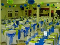 Royal blue and lime green wedding reception decor