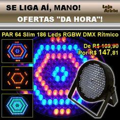 OFERTA! Canhão PAR64 186 LEDs 10mm RGBW DMX ÁudioRítmico Slim: de R$ 169,90 por apenas R$ 147,81 em http://www.aririu.com.br/canhao-led-par-64-slim-186-leds-10mm-rgbw-dmx-audioritmico-199xJM